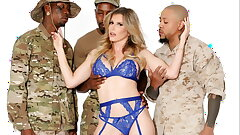Cory Chase tears up 3 black military studs!