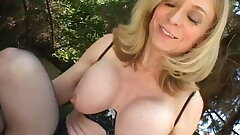 Blonde housewife sits by the pool when dude comes to drill her