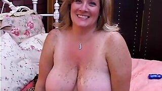 Jaw-dropping mature BBW Deedra loves jizz all over her big tits