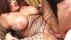 Mature redheaded Plus-size in fishnets fucked
