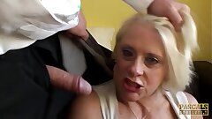 PASCALSSUBSLUTS - Choked granny Carol gets rough rectal sex