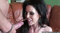 Skinny cougar Tabitha Stevens gets fucked and facialized