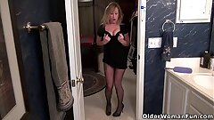 American milf Sally Steel gets insatiable in fishnets