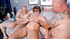 REIFE SWINGER - Chubby German grandmother sucks and fucks 2 cocks in naughty threesome