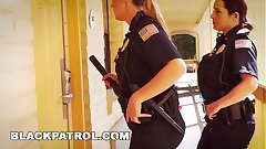 Ebony PATROL - White Cops With Big Fun bags Railing Big Dark-hued Cock On The Job