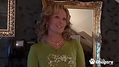 Mature Cougar Lets A Lucky Youthfull Man Piss All Over Her