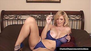 Mature Milf Charlee Haunt Finger Fucks Her Cootchie Smoking Cig