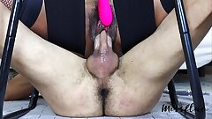 MissFluo - double orgasm on denied cock with juices spilling all over it A78