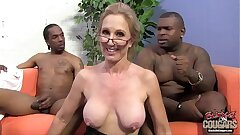 Two black guys are in enjoy with their granny teacher