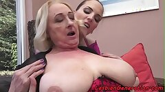 Smalltit babe licked and fingered by grandma