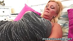 Jizz mouthed grandmother suck