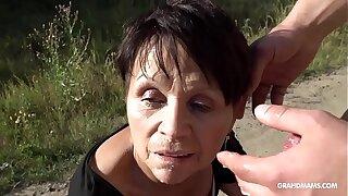 Short haired granny gets brutal fingerblasting on a BM