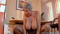 Huge-boobed Granny Seduces Young Guy With Her Large Bosoms