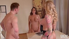 Huge-chested milf Kayla Green & hot lawyer Cathy Heaven in XXX office threesome
