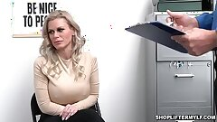 Busty shoplifter MILF Casca Akashova caught stealing necklace by an officer. She was offered for sex to get her freedom and fucked inwards the office.