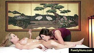 Two milf sex stone massage at nuru massage