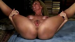 Mature yoga babe opens up and romps her soaking wet pussy for you
