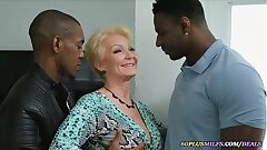grandma gets fucked by 2 big black dicks