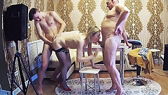 Stepfamily With Cheating & Milf Friend In A Homemade Orgy
