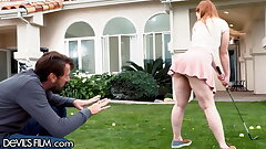 Cute Redhead Teenager Gets Fucked By Step-DILF After Golf