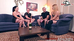German couple, private swinger orgy at home