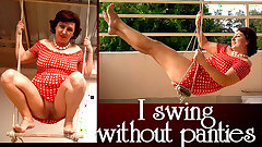 Depraved housewife swaying panty-less on a swing FULL