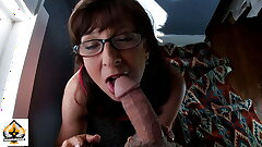 Mind-blowing Granny Wearing Glasses Deep throats and Drains A Fat Man sausage