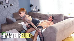 MATURE SWINGERS - Sexy Lady Kinky Cat Rails Lover At His Place