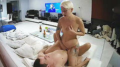 Russian Blonde Tatted Gorgeous Milf Meets Young Lover